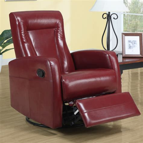 Leather Swivel Recliner Rocker by Monarch Specialties 8082rd Swivel Rocker Recliner In