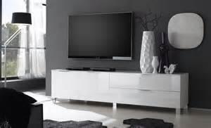 banc tv blanc laqu design gabino