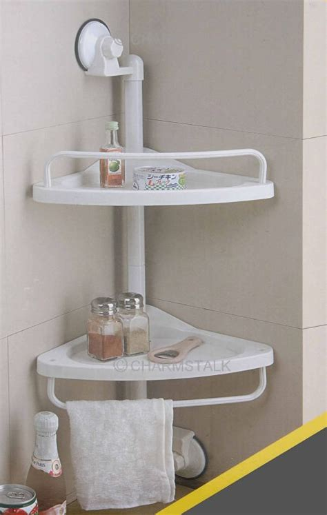 Suction Shelves Bathroom by New Suction Cup Bathroom Rack Corner Chrome Shower
