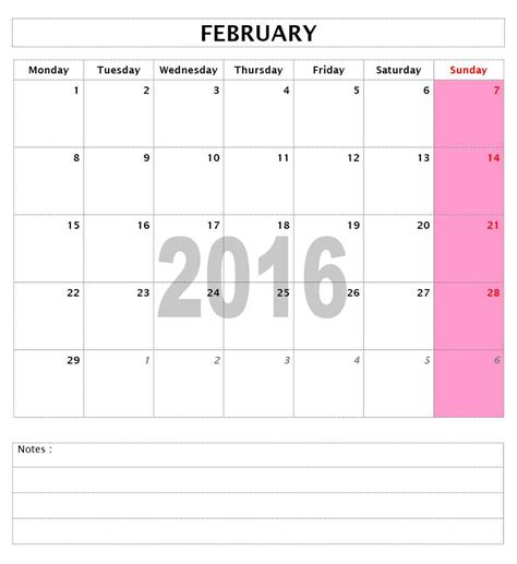 2016 monthly calendar templates free microsoft word
