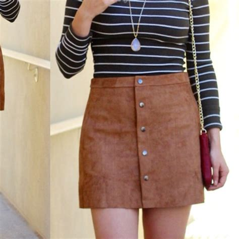 Button Skirt suede skirt with buttons fashion skirts