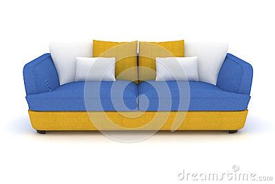 blue and yellow sofa yellow blue sofa with white pillows stock illustration
