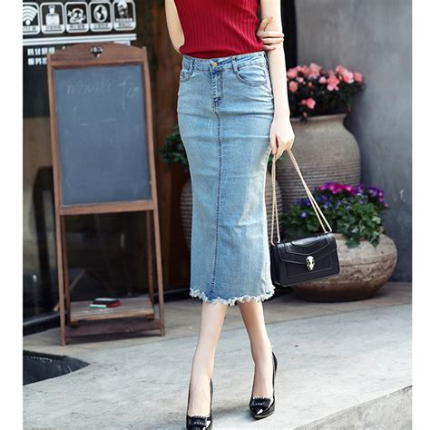 summer slim jean skirts casual tassel a line casual