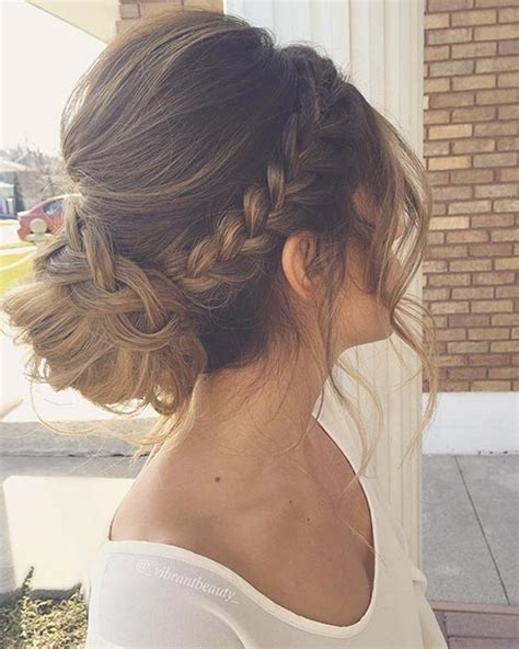 formal hairstyles messy bun with braid 27 gorgeous prom hairstyles for long hair low bun updo