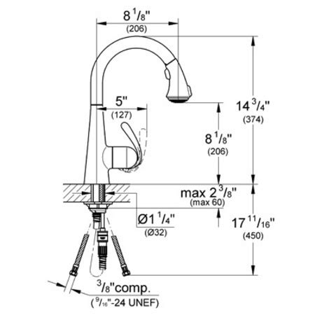 grohe 32459000 ashford kitchen pull out spray faucet grohe ashford kitchen faucet grohe ashford single handle