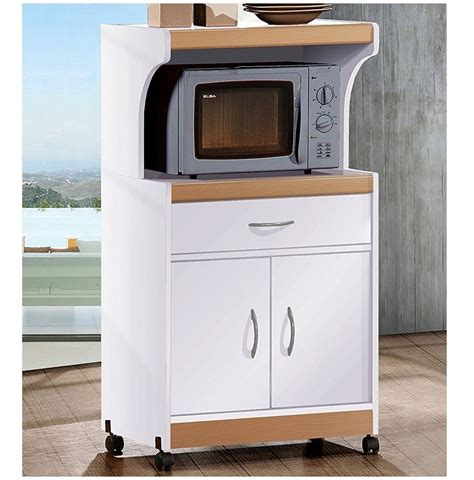 kitchen cabinet storage white microwave stand shelf 3 hodedah microwave cart with one drawer two doors shelf