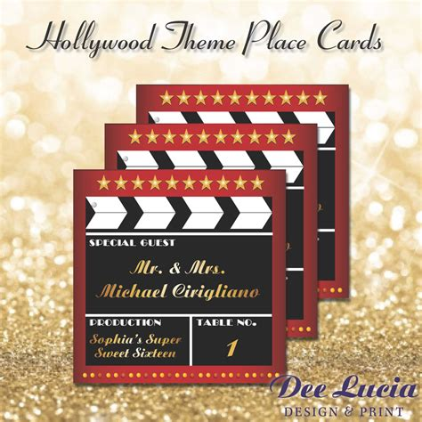hollywood themed names hollywood theme place cards printed with guest name and table