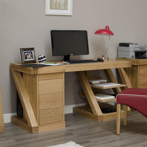 Designer Computer Desks For Home Z Solid Oak Designer Furniture Large Office Pc Computer Desk Ebay