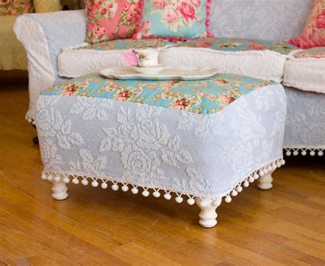 slipcover for chair and a half and ottoman shabby chic ottoman chenille bedspread slipcover roses pom pom