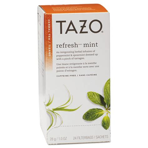 tazo 174 tea bags refresh mint 1 oz 24 box tzo149902