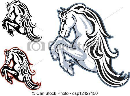 clipart vector of wild stallion mascot wild horse