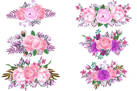 bouquet clipart pink watercolor bouquets clip by chilipapers