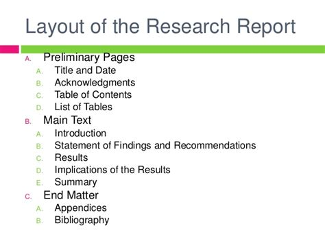 layout of ideal research report research methodology report writing
