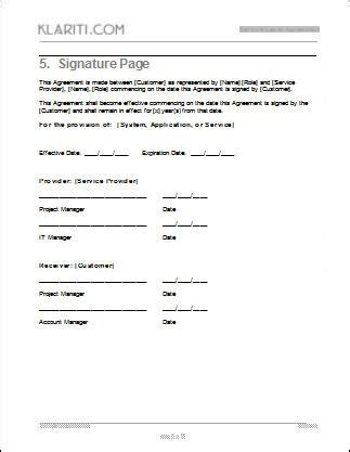 signature page template service level agreement sla template instant