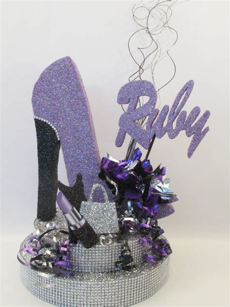 High Heel Shoe Table Decorations by High Heel Shoe Lavender Baby Shower High Heel Lavender And Centerpieces