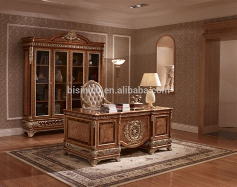 Bookcase Bedroom Set Exquisite Wood Carving Reading Table And Chair Luxury