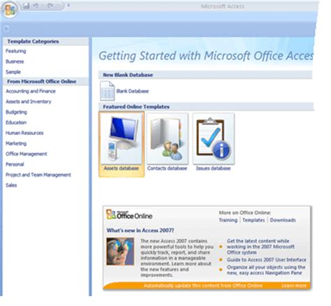Guide To The Access 2007 Templates Access Microsoft Access Templates 2007