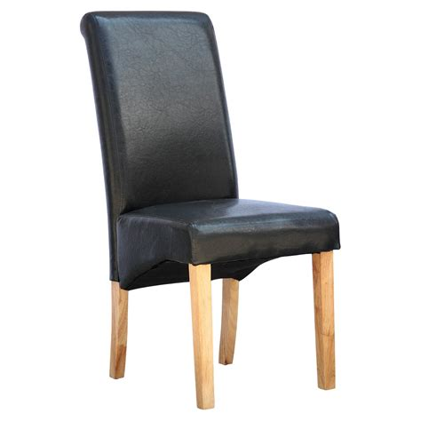 cambridge faux leather dining chair w roll top high back
