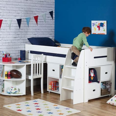 kids beds with storage and desk quickshop merlin mid sleeper bed with a storage unit a
