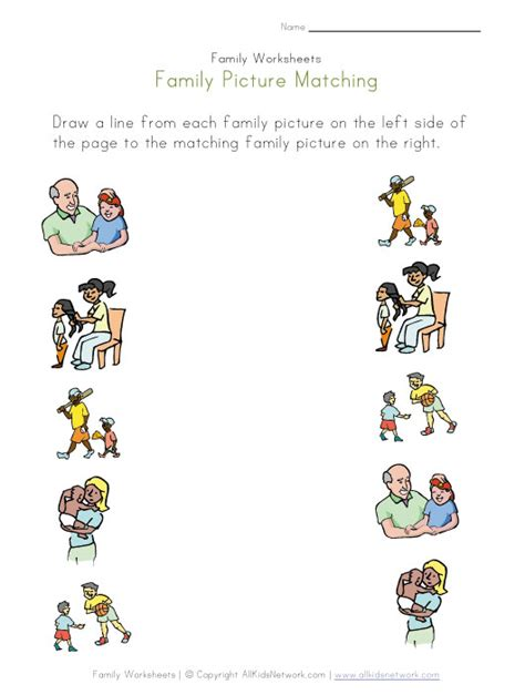 kindergarten activities on family family matching worksheet crafts pinterest