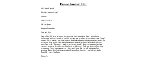 Financial Hardship Letter Exles Mortgage Financial Hardship Letter Jvwithmenow