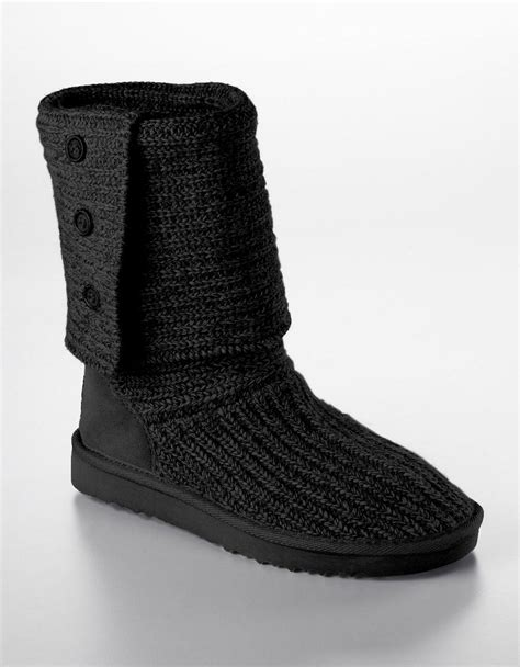 knitted boots ugg australia cardy knit flat boots in black lyst