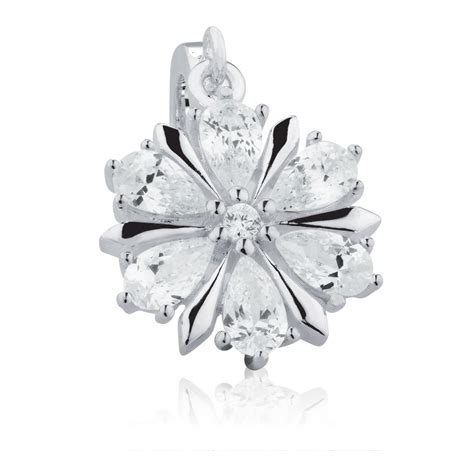 Silver Dangle With Cubic Zirconia P 1154 snowflake dangle charm with cubic zirconia in sterling silver