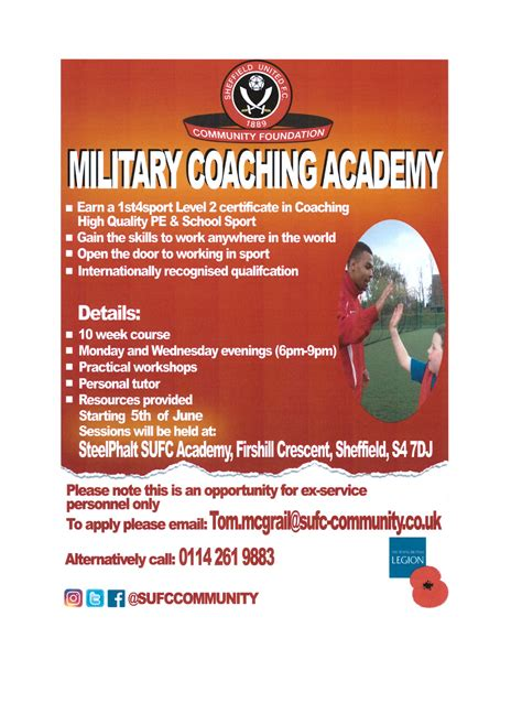 flyer design rotherham military coaching academy starting 5th june 2017