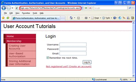 asp net tutorial 8 create a login website creating master user based authorization c the asp net site