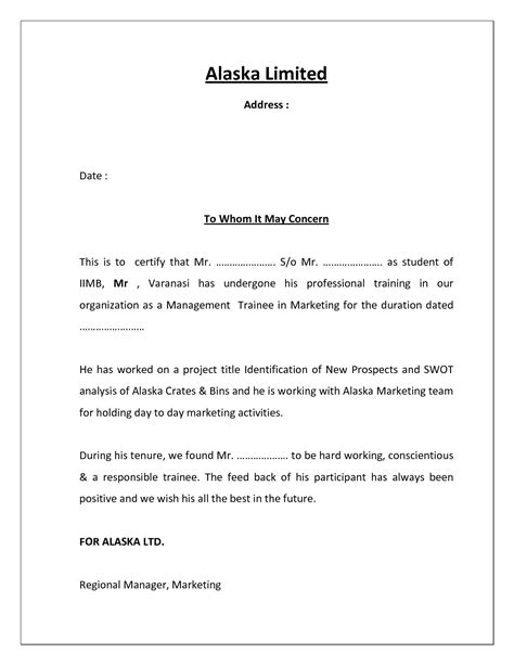 Mba Project Request Letter To A Company by Project Completion Certificate Template Cover Latter