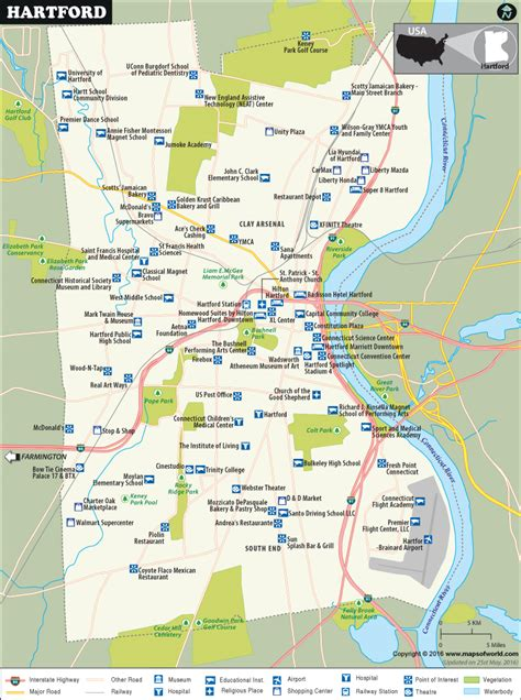 usa connecticut map hartford map map of hartford capital of connecticut