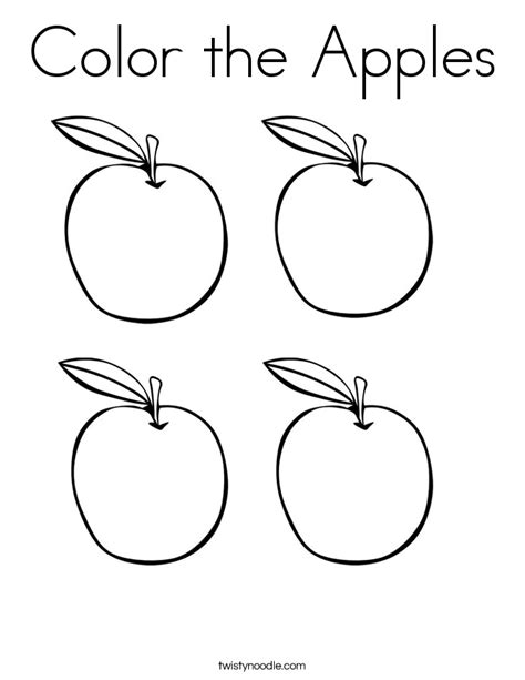 apple coloring pages for kindergarten color the apples coloring page twisty noodle