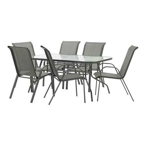 outdoor furniture settings marquee steel sling back setting 7pc grey bunnings warehouse