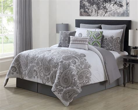 gray queen comforter sets 9 piece mona gray white 100 cotton comforter set