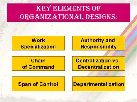 organizational design key elements organization theory design