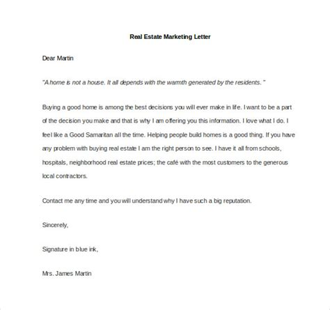 Real Estate Introduction Letter Template marketing letter template 38 free word excel pdf