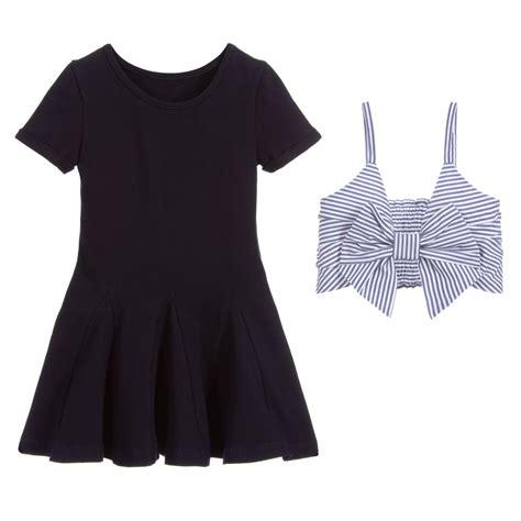 lapin house navy blue jersey dress set childrensalon