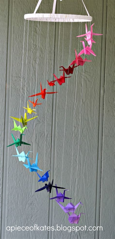 Origami Mobile - origami crane rainbow mobile sugar bee crafts