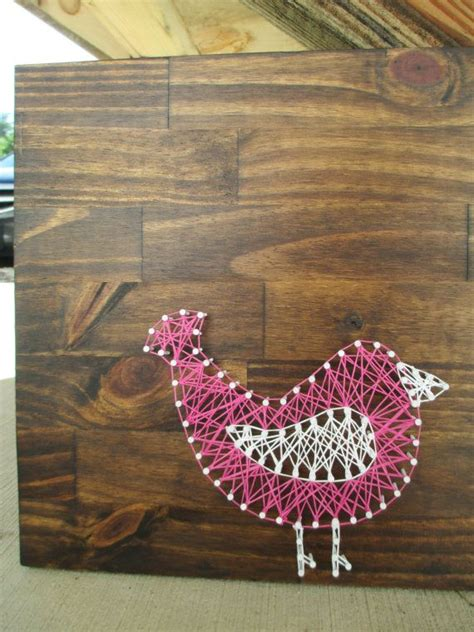 String Bird - string bird nail and string nursery decor