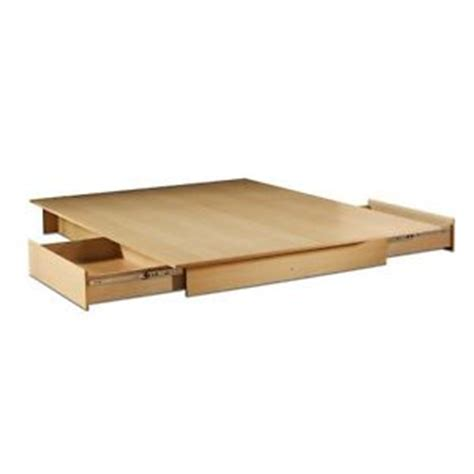 Queen Size Modern Platform Bed Frame With 2 Under Bed Storage Drawers In Maple Ebay