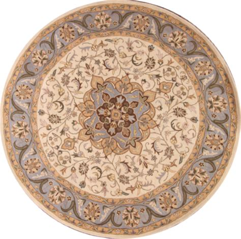 persian pattern png 100 wool classic floral ivory round 10x10 oushak persian