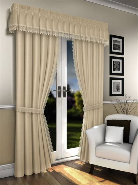 cream curtains with pelmet lorna cream voile lined curtains with macrame lace pelmet