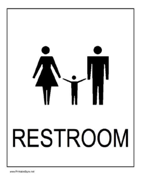 family bathroom sign printable family restroom sign
