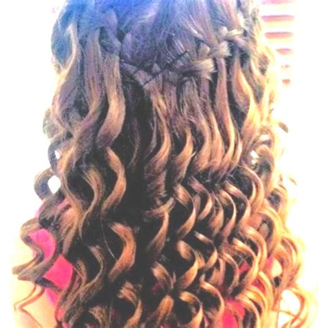 nice hairstyles with the wand tight wand curls with waterfall braid hair styles ideas