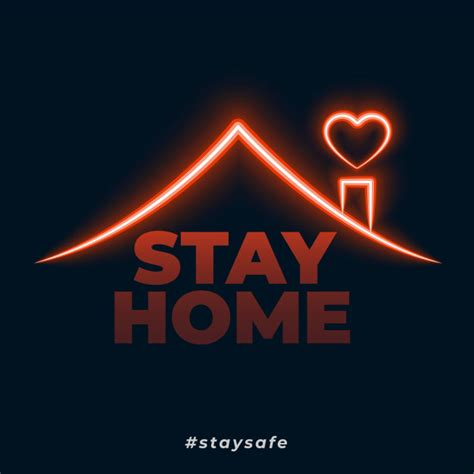 stay home stay safe neon style concept background