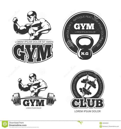 Set Kulo Bell Monocrome Hnc a set of monochrome fitness emblems stock photography cartoondealer 78930236