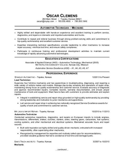 auto mechanic resume templates auto mechanic resume sle