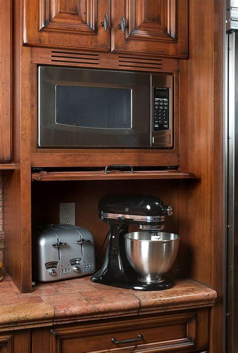 kitchen cabinet appliance garage appliance garage with pull up door and built in microwave