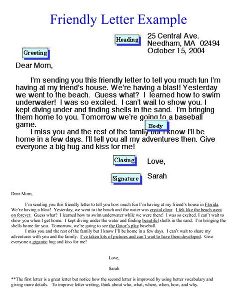 friendly letter format mom templates