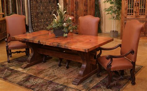 tuscan kitchen tables tuscan copper trestle dining table farmhouse dining room other metro by woodland creek